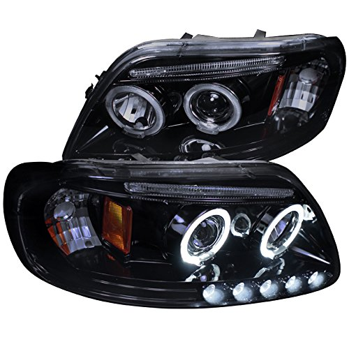 Spec-D Tuning 2LHP-F15097G-TM Ford F150 Led Dual Halo Glossy Black Projector Head Lights