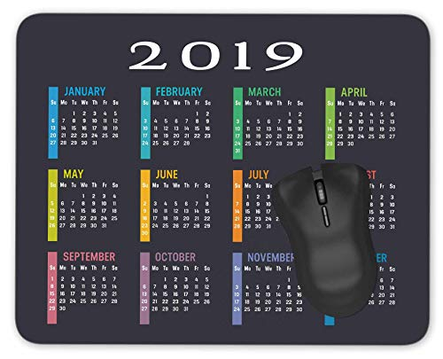 2019 Calendar Mouse Pad Anti-Slip Personalized Rectangle Gaming Rubber Mousepad -