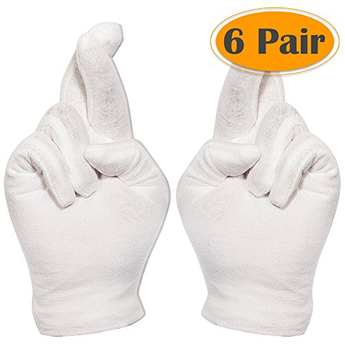 Selizo 6 Pairs White Cotton Gloves for Cosmetic