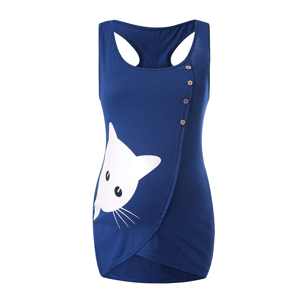Hotkey Womens Camisoles Plus Size Women Maternit Summer Print Button Shirt Sleeveless Vest Tank Casual Tops Blue