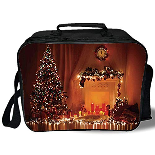 Christmas 3D Print Insulated Lunch Bag,Romantic Xmas Room with Candles Lights Presents Toys Fairy Festive Magic Picture,for Work/School/Picnic,Orange ()