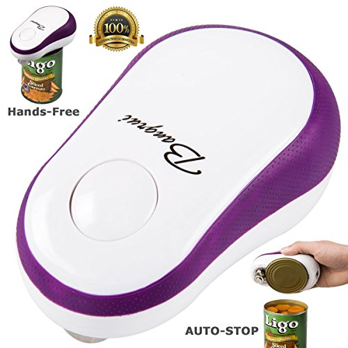 Smooth Edge Electric Can Opener with One Button Start & Auto Stop (Purple)