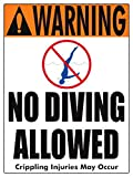 Warning No Diving Allowed (4 inch lettering) Sign (18 x 24 Inches-Heavy Duty White Aluminum)
