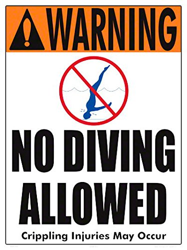 Warning No Diving Allowed (4 inch lettering) Sign (18 x 24 Inches-White Styrene Plastic) by Aquatic Technology, Inc.