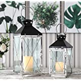 "JHY DESIGN Set of 2 Stainless Steel Decorative Candle Lanterns 19""&14"" High Metal Candle Lanterns for Indoor Outdoor…"