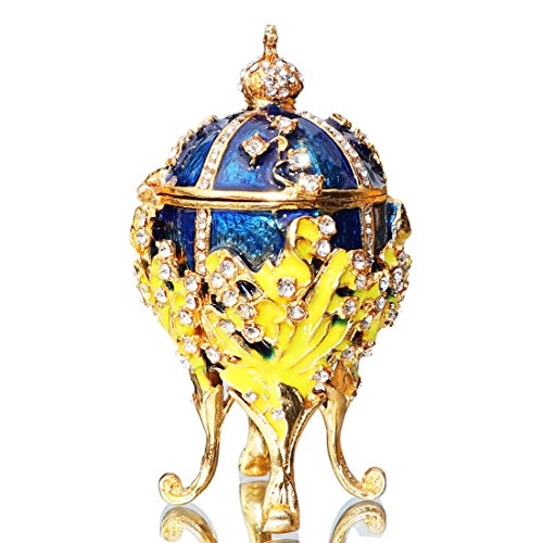 Waltz&F Hand-painted blue egg-shaped jewelry boxFigurine Collectible Decorative Hinged Jewelry Trinket Box Unique Gift For Home Decor