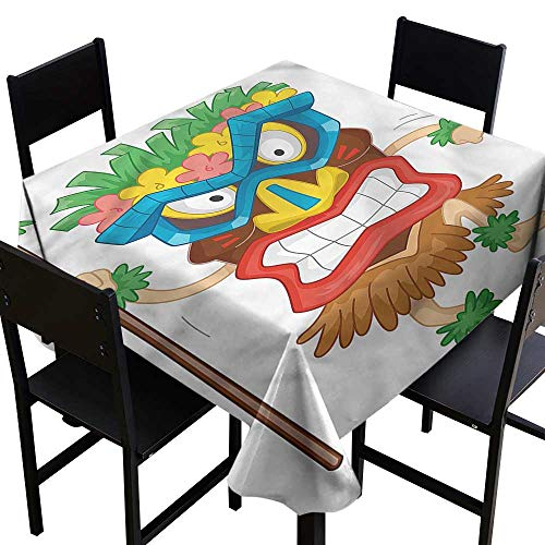 haommhome Elegance Engineered Tablecloth Tiki Bar Native Costume Easy to Clean W50 xL50 Washable Polyester - Great for Buffet Table, Parties, Holiday Dinner, Wedding & More -