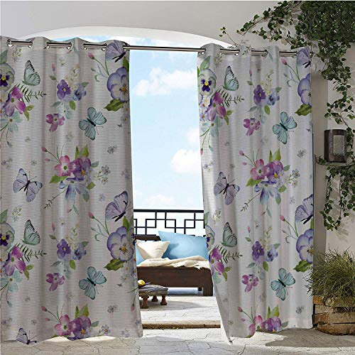 Linhomedecor Patio Waterproof Curtain Dogwood Flower Botanical Blooms Spring Iris Peony Flying Butterflies Nature Theme Multicolor Porch Grommets Print Curtains 72 by 108 -