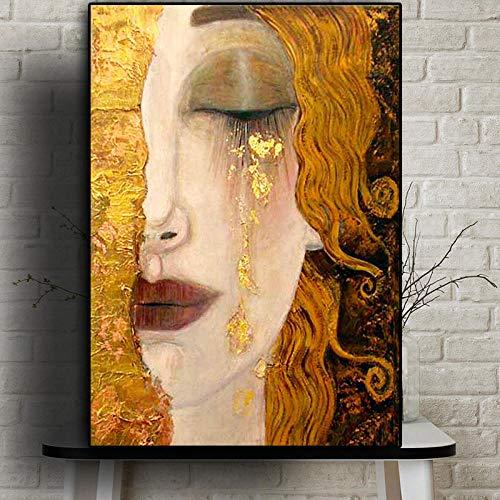 NO BRAND Artista clasico Gustav Klimt Lagrima Pintura al oleo Abstracta sobre Lienzo Carteles e Impresiones Arte Imagenes de Pared para Sala Cuadros 60x90cm Sin Marco