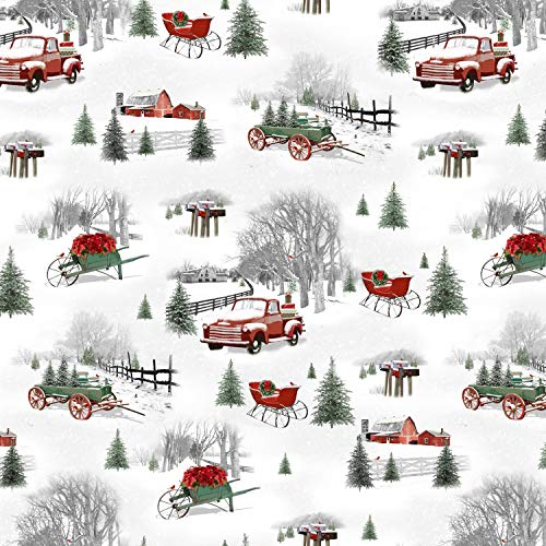 Small Christmas Scene, Red Trucks, Sleighs Wagon, Green Pines, Winter, Holiday Homestead, Henry Glass, Jan Shade Beach, 1614-090, by Yard]()