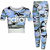 New Kids Girls Adios Camouflage Military Army Crop Top & Legging Age 7-13 Years