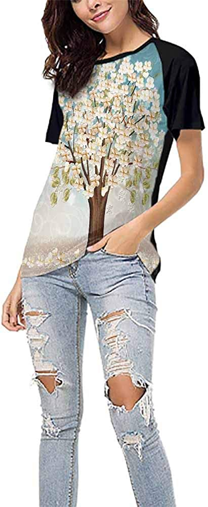 Beautiful 69 DayOn Printed Causal Tops Blouse,Flower Plant S-XXL Print Round Neck Short Sleeve Artistic
