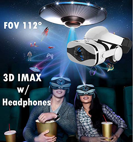 3D VR Glasses Headset, 2018 New Virtual Reality Goggles w/HiFi Headphone & Fan, 3D Movie/Game Viewer Compatible for Apple iPhone Xs Max XR X 8 7 6S 6 Plus Android Samsung Galaxy S9 S8 S7 S6 Edge S5 ()