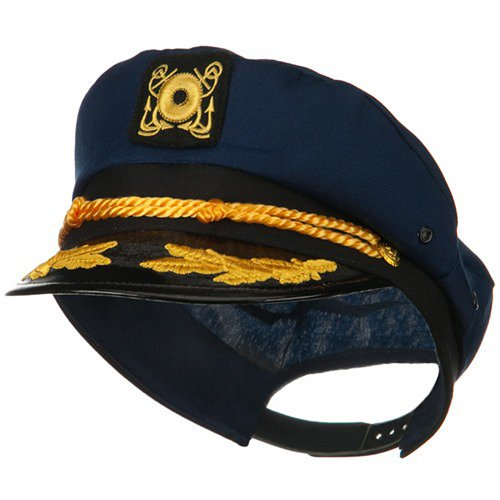 Cotton Yacht Emblem Cap-Navy Captain Costume ()