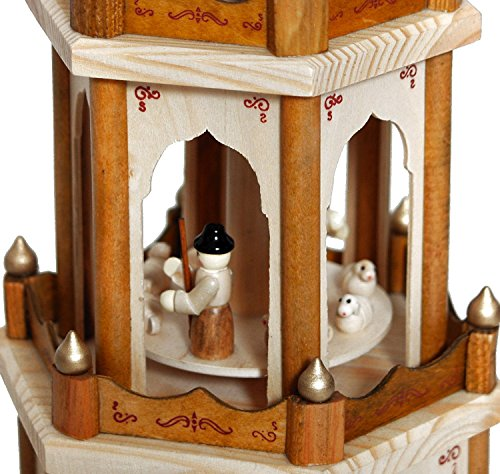 BRUBAKER Christmas Pyramid - 24 Inches - 4 Tier Carousel with 6 Candle Holder and Hand Painted Figurines - Designed in GERMANY - Nativity Set, Decoration by BRUBAKER (Image #4)