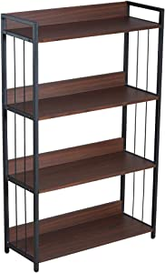 Bookshelf, 4 Tier Shelf Industrial Bookcase Rustic Storage Standing Rack Shelf Organizer with Wall Lock, Wood Look with Metal Frame Vintage Shelves Morden Book Shelves for Bedroom Home Office (Walnut)