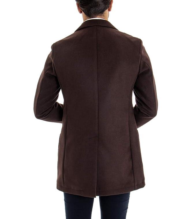 Cappotto Uomo con Colletto Spilla Classico Giacca con Pochette Taschino Marrone Giubbotto GIOSAL