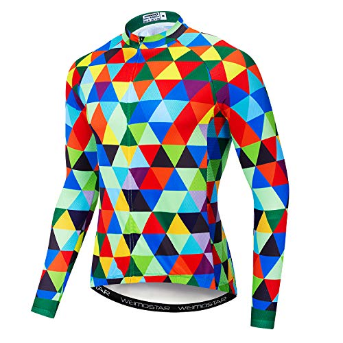 Weimostar Men's Cycling Jersey Long Sleeve Bicycle MTB Bike Shirt Top Cycle Clothing Green Diamond Size L