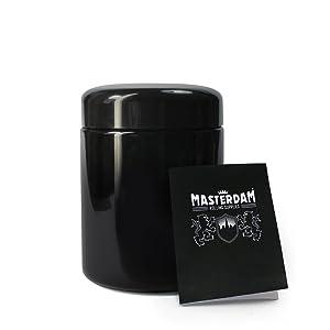 Masterdam Jars 250ml StashShield UV Glass Jar - Smell-Proof Ultraviolet Storage Stash Jar Container Refillable Tall Wide-Mouth