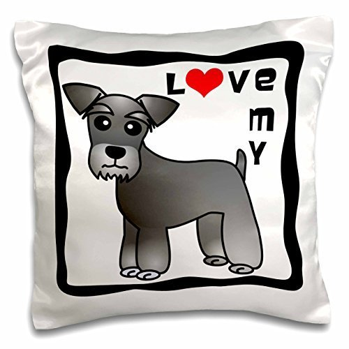Janna Salak Designs Dogs - I Love My Miniature Schnauzer Dog - Banded Coat (Salt and Pepper) - Red Heart - 16x16 inch Pillow Case