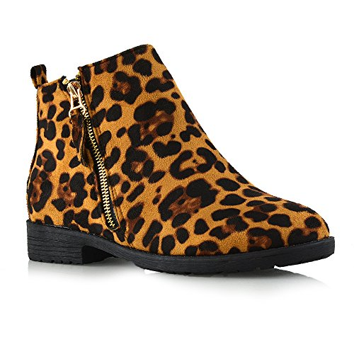 ESSEX GLAM Womens Faux Suede Flat Heel Zip Up Ankle Boots Leopard Bob9iZG2