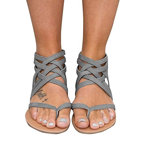 (Xiakolaka Womens Cross Strap Sandals Flip Flop Ankle Buckle Gladiator Flat Shoes Grey)