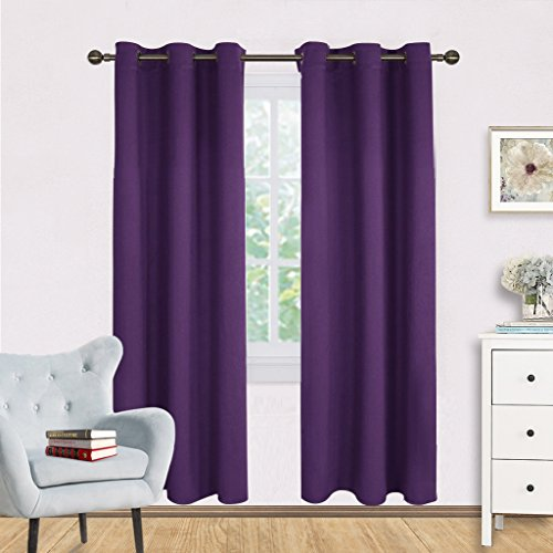 Blackout Draperies Curtains for Kids Room - NICETOWN Triple Weave Home Decoration Thermal Insulated Solid Ring Top Blackout Drapes Panels (Set of 2,42 x 72 Inch,Royal (Cheap Easy Halloween Decorations Make)