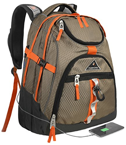 Laptop Backpack 15.6-Inch Business College Travel Computer Bag for Surface Water-Resistant Waterproof USB Charging Port Slim Light Weight Reflective Strip Rain Cover Large Capacity by Ramhorn(khaki) by Ramhorn