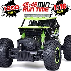 1/16 scale design makes this RC car more realistic.the shock absorbers ensure this RC car more solid and stable.anti-slip tires supply with stronger power, making it easier to move on rugged roads.