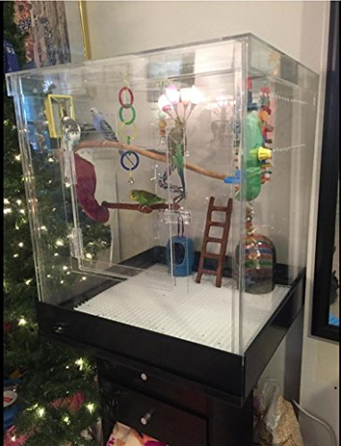 Pennzoni Display Bird Acrylic Cage Small Acrylic Cage No Bas