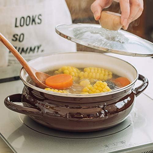 Amuzocity Pot à Soupe en émail Naturel, 2 Pintes, Blanc