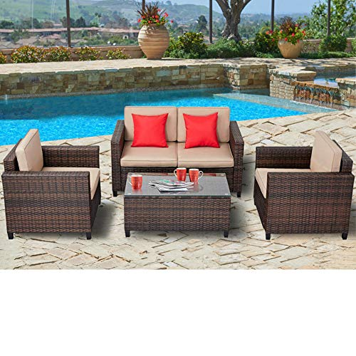 SUNCROWN Outdoor Patio Furniture 4-Piece Conversation Set All-Weather | Thick, Durable Cushions Washable Covers | Porch, Backyard, Pool Garden