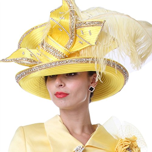 Kueeni Women Wedding Hat Church Hats Mother of the Bride Hats Yellow by Kueeni