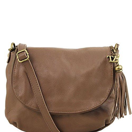 Tuscany Leather - TL Bag - Bolso en piel soave con borla y bandolera Blue oscuro - TL141223/107 Dark Taupe