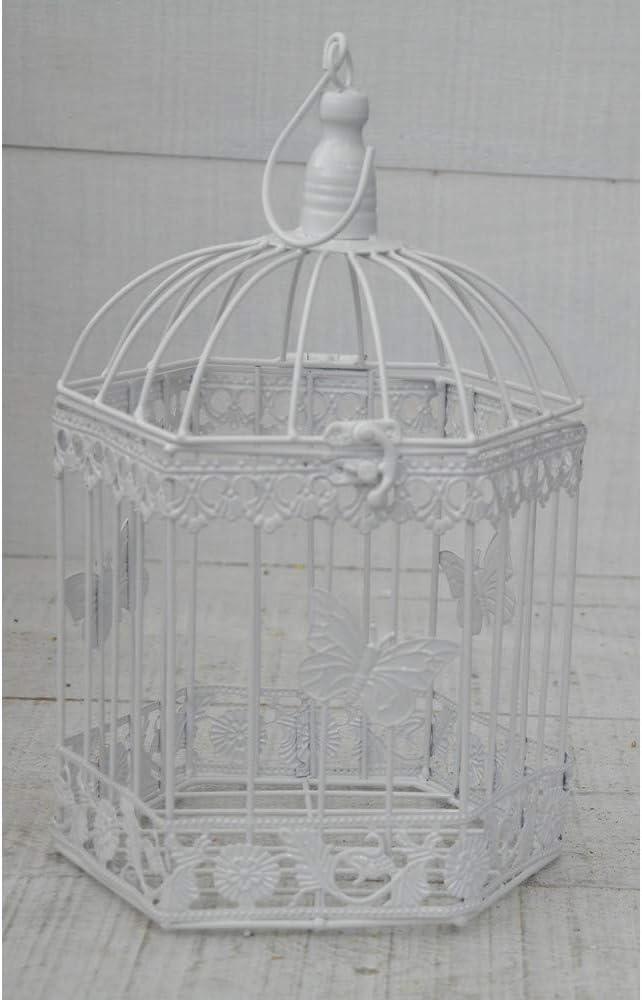 Hogar y Mas Jaula Blanca Decorativa de Metal, Elegante y Moderna Mariposas. Decoración Jaulas Boda, Jardín. - Grande