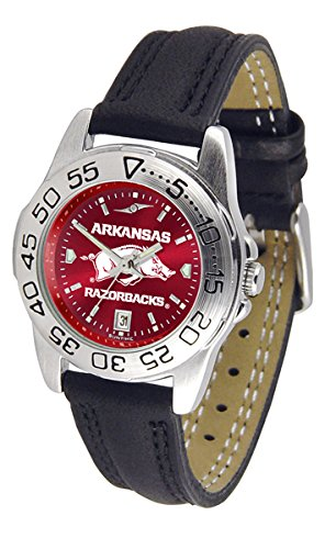 Arkansas Razorbacks Ladies Sport Watch - Arkansas Razorback Ladies Leather Band Sports Watch