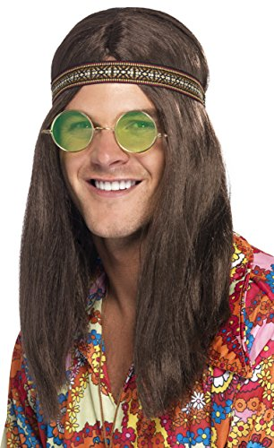Smiffy's Men's Hippie Kit, Headband, Sunglasses and Necklace, One Size, (Mens Hippie Wig)