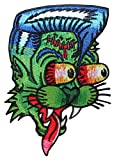 Novelty Iron On Patch - Creepy Zombie Dead Cat Face w/ Fangs Applique