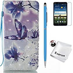 ZTE Blade Z Max Case, ZTE Sequoia Case, Everun Premium Wallet Leather Case ID Credit Card Pouch Cover Flip Folio Book Style with Money Slot for ZTE ZMax Pro 2/ Z982