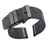 20mm Luxury Black Milanese Loop Bracelets Polished Mesh Steel Watch Band Solid 316L Stainless Steel