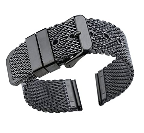 22mm High-Grade Black Stainless Steel Mesh Watch Band for Men Brushed Chain Watch Strap With Pin (22mm Mesh Watchband)