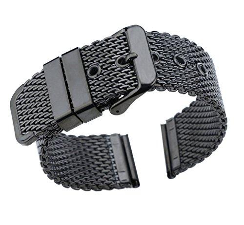 18mm Premium Black Mesh Watch Band Milanese Watch Strap Stainless Steel Brushed Buckle Straight (Esq Black Watch)