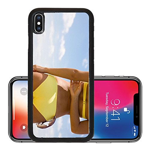 Liili Premium Apple iPhone X Aluminum Backplate Bumper Snap Case Torso of luxurious woman with sunglasses Back view Photo - Ebay Ladies Sunglasses
