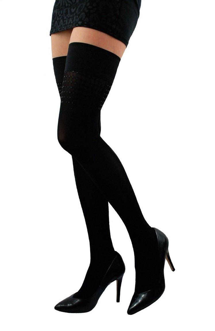 Womens Fashion Hold Ups Thigh High Hosiery Stockings Decorative Sequins 40 Denier Coco J 12