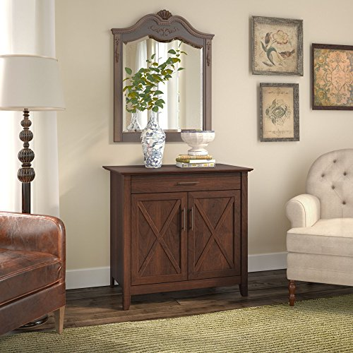 Bush Furniture Key West Laptop Storage Desk Credenza in Bing Cherry -