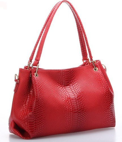 Classic fashion Women Korea Simple Style PU leather Clutch Handbag Bag/shoulder strap 848 (red)