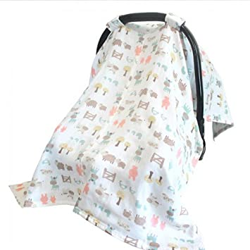 Vlokup 100% Cotton Muslin Baby Car Seat Covers Travel Car Seat Canopy for Boys Girls  sc 1 st  Amazon.com & Amazon.com: Vlokup 100% Cotton Muslin Baby Car Seat Covers Travel ...