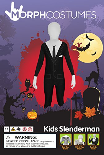 Slender Man Kids Morphsuit Fancy Dress Costume - Size Medium 3 ?-4 ? Mince Costume Robe Enfants Morphsuit Fantaisie Homme - Moyenne Taille 3 -4? (108cm-122cm) (108cm-122cm)