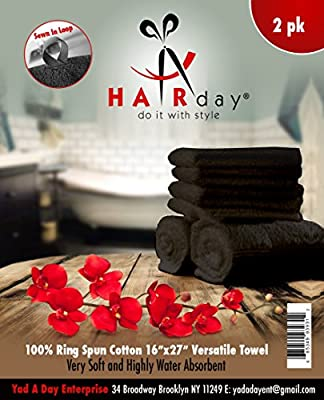 """HairDay Care Hand Towels - 100% Cotton, Premium Hair Salon Towels - Highly Water Absorbent, Easy to Wash & Dry- Durable Hand Towels for Salons, Spas, Gyms. - 16"""" x 27"""", Pack of 2, Black"""