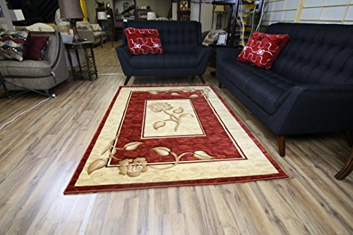 New Classic Red Burgundy Beige Flower Design Rug Hand Carved Machine Made Area Rug Carpet 8 by